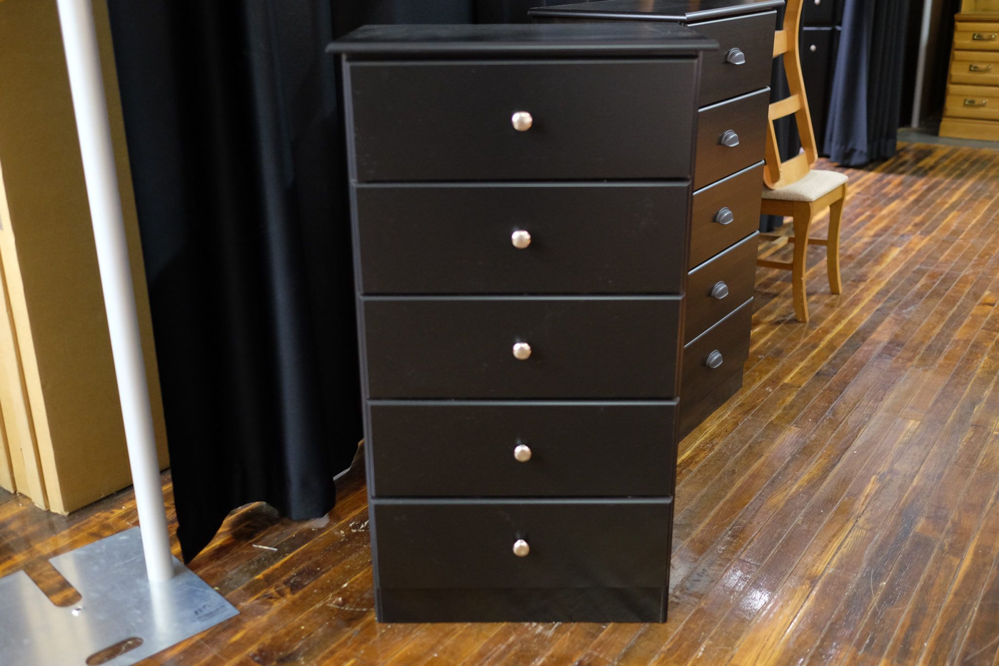 Five drawer black chest