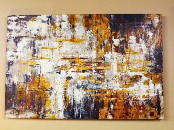 Gold grey canvas art & accessories