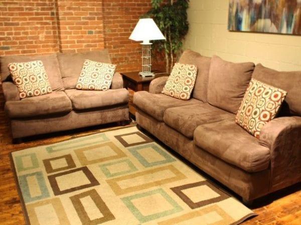 Microsuade Chocolate sofa and love seat