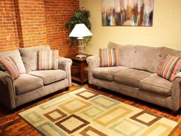 Nina Charcoal love seat and sofa set Pittsburgh Furniture
