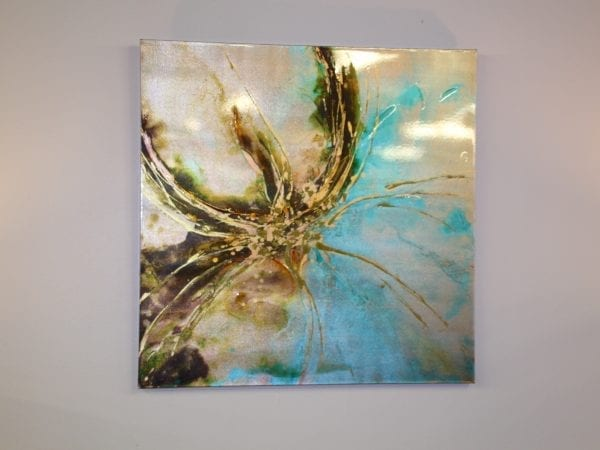 Metallic blue and brown canvas available for lease at Pittsburgh Furniture Leasing