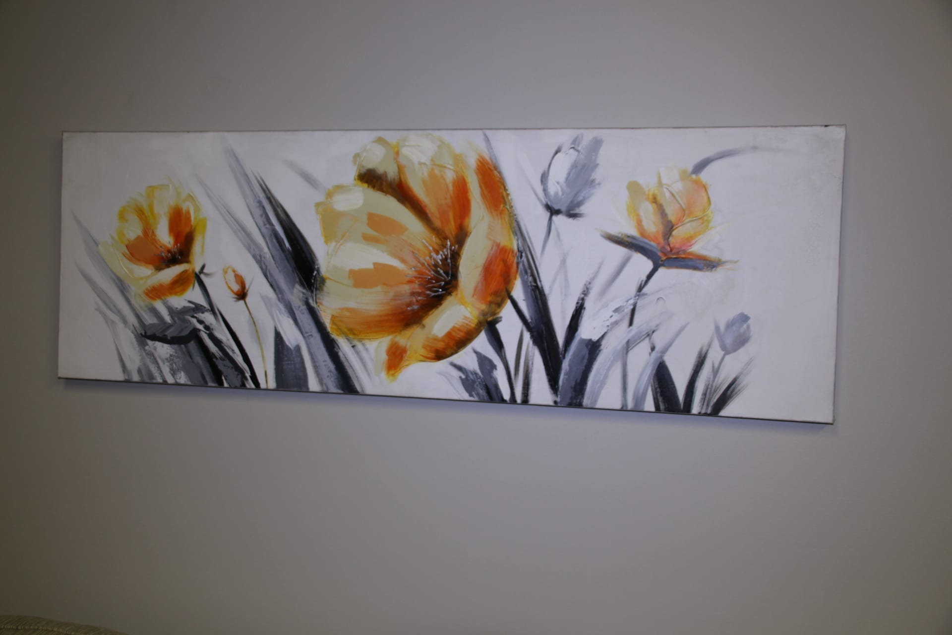Yellow flower long canvas available for lease at Pittsburgh Furniture Leasing