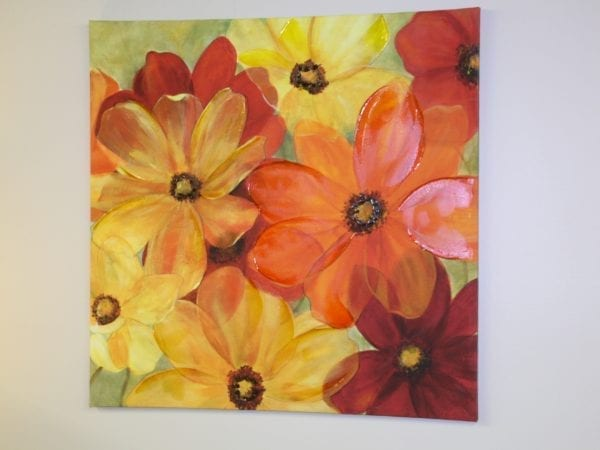 Yellow, Red, Orange Flower Canvas for lease at Pittsburgh Furniture Leasing