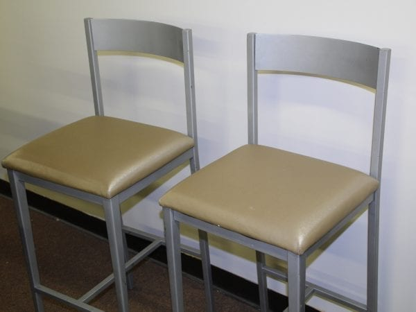 Beigh and Silver Bar stools available at Pittsburgh Furniture Leasing