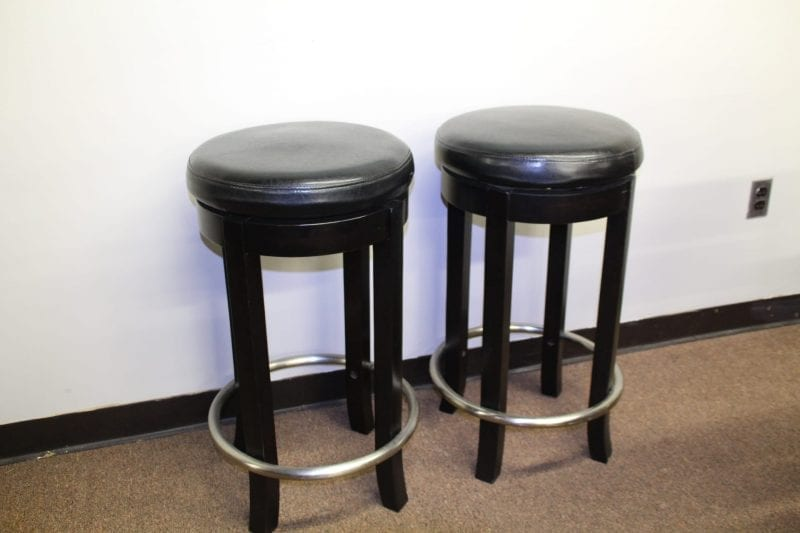 Black backless bar stools available at Pittsburgh Furniture Leasing