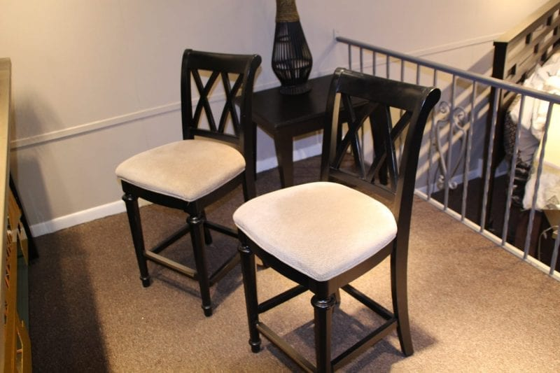 Black bar stools available for lease at Pittsburgh Furniture Leasing